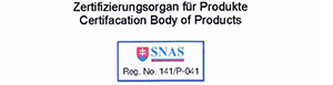 Eurocast Kosice's certificate SNAS body of products