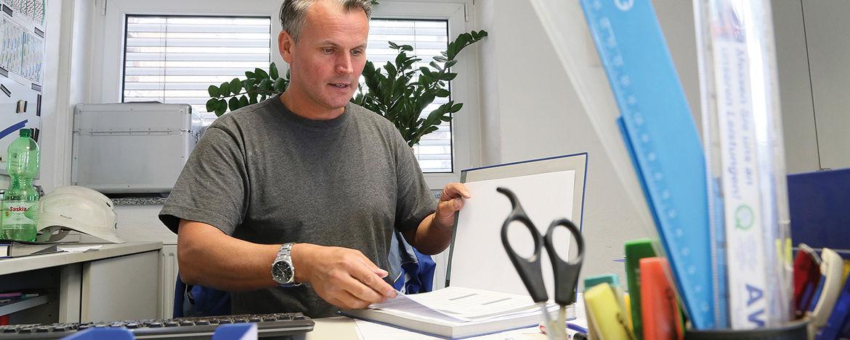 Ausbildungsleiter Ronny Keppler in seinem Büro
